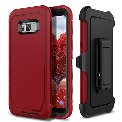(S8 Plus Holster Case, WeLoveCase 4 in 1 Hybrid Heavy Duty Shockproof Military Grade Defender Full Body Rugged Armor Cover with Swivel Belt Clip Protective Case for Samsung Galaxy S8 Plus Red)