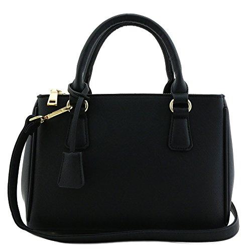Classic Triple Zip Top Handle Mini Satchel Bag Balck ()