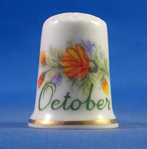 Porcelain China Thimble -- Flower on the Month -- October