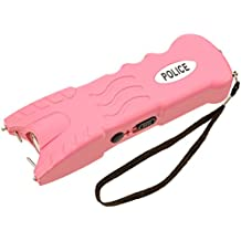 Police 916P - Max Voltage Heavy Duty Stun Gun - Rechargeable With Safety Disable Pin LED Flashlight and Case, Pink