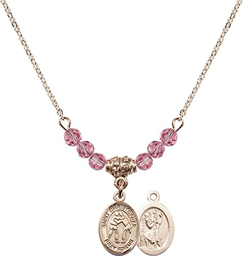 18-Inch Hamilton Gold Plated Necklace with 4mm Rose Birthstone Beads and Gold Filled Saint Christopher/Wrestling Charm. by F A Dumont