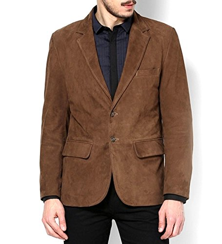 World Of Leather Men's Brown Suede Leather (Lambskin Blazer Coat)