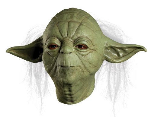 Star Wars Master Yoda Deluxe Adult Overhead Latex Mask, Green, One (Yoda Costume Adults)