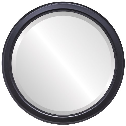 Decorative Mirror for Wall | Framed Round Beveled Wall Mirror | Toronto Style - Gloss Black - 26x26 outside dimensions (Store Above 1 Toronto Bedroom)
