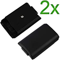 2x Black Battery Cover for Microsoft Xbox 360