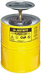 Justrite 10318 Steel Plunger Can, 4L Capacity, Yellow