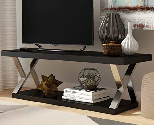 Etha- Tv Stand for 60 Inch Tv-Display Your Tv in Style-Color Black Tempered Glass Silver Metal Frame Open Shelving 60' Flat Panel Tv Base