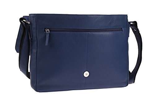 Greenburry Pure A4 Messenger Bag Tasche Leder 34 cm Laptopfach Blue U7Acw4