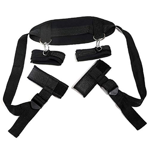Salovin Play Cuffs for Man, Soft Straps with Nylon, Couple Game Toy-Black, Adjustable -