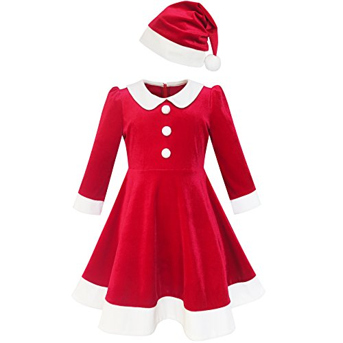 Sunny Fashion LL31 Girls Dress Christmas Hat Red Velvet Long Sleeve Holiday Size 4
