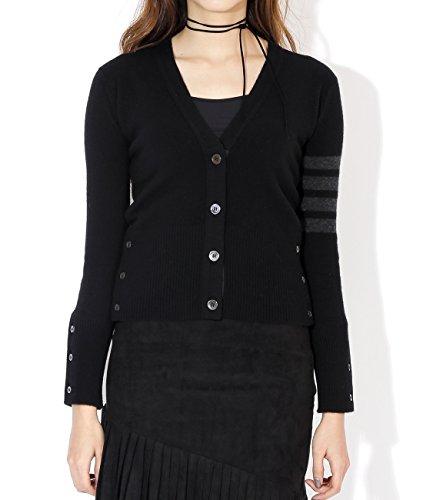 wiberlux-thom-browne-womens-stripe-accent-v-neck-cardigan-38-black