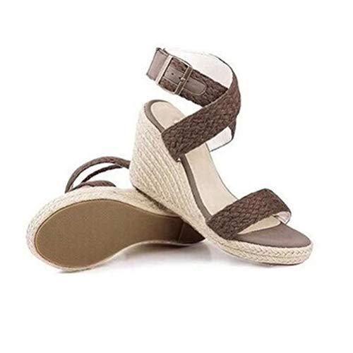 (ZKYSO Women's Braided Platform Wedge Sandals Crisscross Ankle Strap Espadrille High Heel Open Toe Sandal)