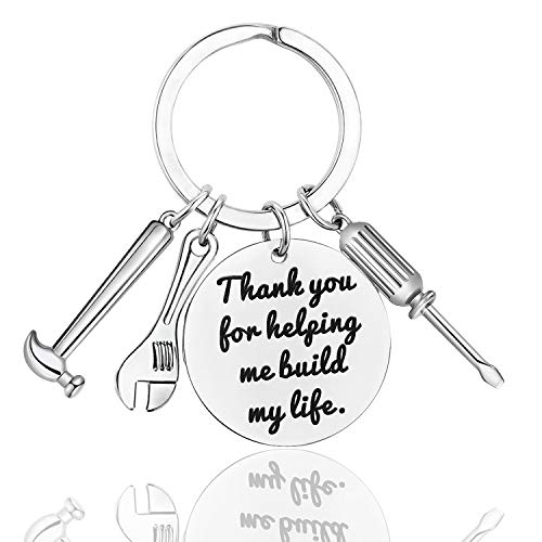 Build Key - LanMa Dad Keychain Father's Day Gifts - Thank You for Helping Me Build My Life Keychain for Christmas Birthday Family Gift