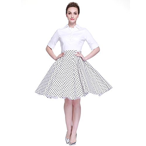 [Heroecol Women Vintage 1950s Dresses Polo Neck Short Sleeve 50s 60s Splice Style Retro Swing Cotton Dress Size L Color White with Black Polka] (Iconic Womens Halloween Costumes)
