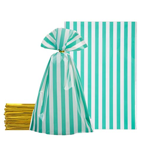 Mint Green Cellophane Bags 5.5x8 inch with Twist Ties for Treat Candy Cookie Party Favor Bags, Mint Green and White Stripes,Pack of 100