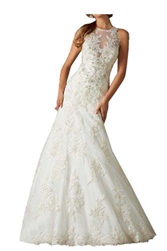 Gorgeous Bride Traumhaft Lang Meerjungfrau Satin Tuell Spitze Brautkleider  Hochzeitskleider
