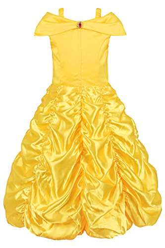 JerrisApparel Princess Belle Off Shoulder Layered Costume Dress for Little Girl (3 Years, (Girls Dress Yellow)