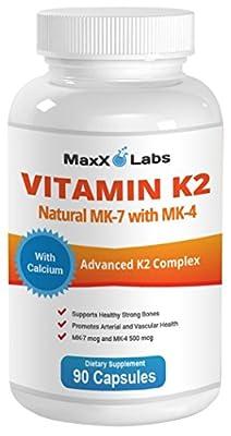BEST Vitamin K2 ? 600 mcg ? 90 Vegie Caps - Advanced Formula - All Natural MK7 (Natto) and MK4 Menatetrenone) Plus Calcium 100 mg - Vitamin K - MK-7 + MK-4 with No GMOs, Gluten and Allergens Free