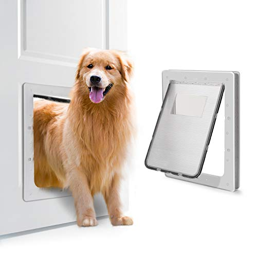 OWNPETS Pet Door, X-Large Pet Wall Doors with Plastic Flap Door, Size 16.7'X14.6'X1.77' Pet Screen Door, Fit Small, Large and Extra Large Dogs (White)