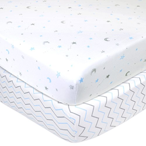 Piece 2 Mattress (American Baby Company 2 Piece Printed 100% Cotton Jersey Knit Fitted Crib Sheet for Standard Crib and Toddler Mattresses, Blue Stars/Zigzag)