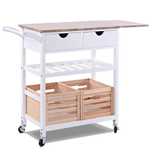 Cypressshop Wood Kitchen Trolley Rolling Island Cart Drop-Leaf with Storage Drawer Moveable Basket and Wine Rack Prep Meal Preparation Drink Home Furniture