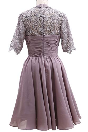 Bride Wedding Lace Blue Party of Women Short Dress Evening Mother MACloth Gown Steel Sleeve qnvTatwB