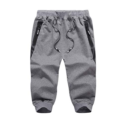 OrchidAmor 2019 Men's Boys Summer Fashion Casual Solid Swag Comfort Sports Beach Happy Vacation Calf-Length Pants Dark Gray