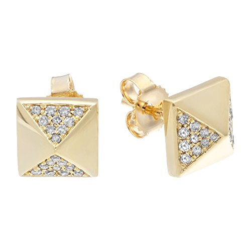 10K Yellow Gold Pyramid Stud Earrings with 0.15 Cttw Diamonds