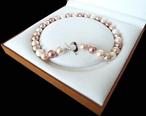 White Pink Purple Rare Huge 12mm Genuine South Sea Shell Pearl Necklace Heart Clasp 18'' AAA+++