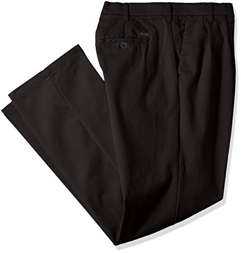 IZOD Men's Big and Tall Performance Stretch Pleated Pant, Black, 48W X 32L
