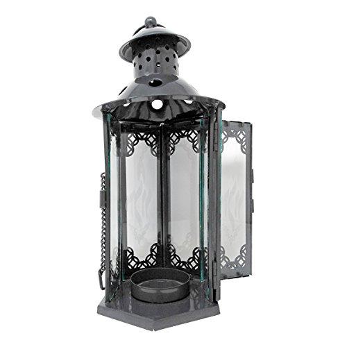 Ner Mitzvah Yahrzeit Yizkor Lighthouse Candle Lantern - Small - Yartzeit Memorial Decorative Candle Lantern - Black