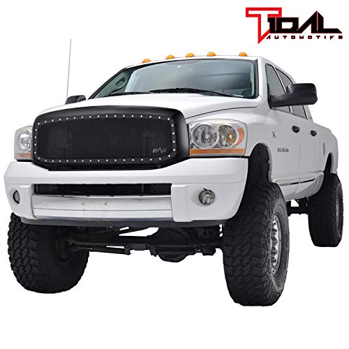Rivet Black Stainless Steel Wire Mesh Grille W/Shell for 06-09 Dodge Ram