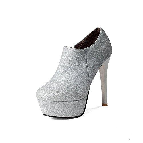 AllhqFashion Damen Wasserdicht Plattform Stiletto Rund Zehe Rein Reißverschluss Stiefel, Golden, 39