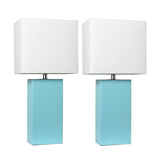 Elegant Designs LC2000-AQU-2PK 2 Pack Modern Leather Table Lamps with with White Fabric Shades, Aqua