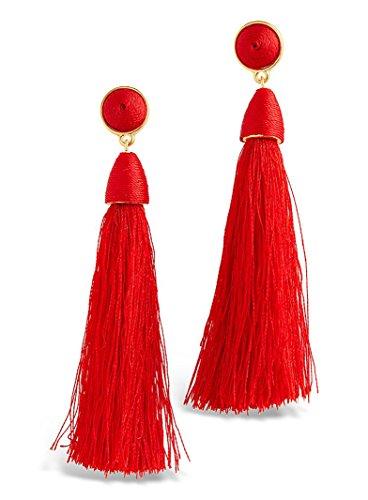 Sterling Forever - Fringe Drop Earrings (Red) Red Tassel Fringe