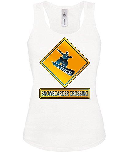 SNOWBOADER CROSSING mujer camiseta Tamaño S to XXL varios colores S-XL Blanco / Negro