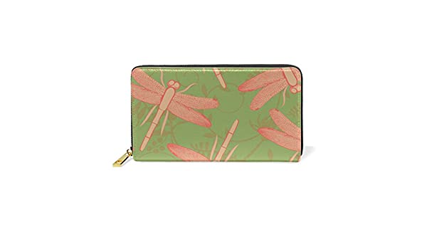 MAPOLO Dragonflies And Flowers Womens Clutch Purses Organizer And Handbags Zip Around Wallet