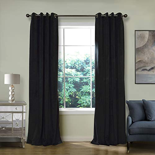 ChadMade Blackout Lined Premium Velvet Curtain Warm Black 72Wx84L Inch (1 Panel), Eyelet Grommet for Livingroom Bedroom Theater Studio, Birkin Collection