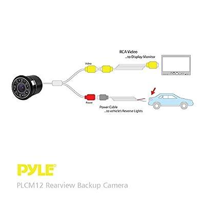 Pyle PLCM12 Rearview Backup Parking Assist Camera (Waterproof Night Vision Cam, Distance Scale Line Display, Flush Mount): Automotive
