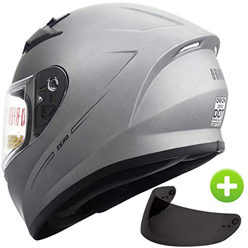 Orion Zero Full-Face Motorcycle Helmets DOT Approved + One Extra Smoked Shield (L, Titanium Grey) ()