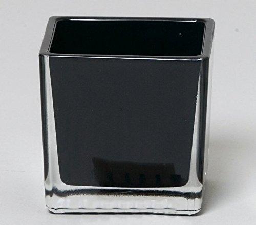INNA Glas Set 2 x Flower pot LEVI, cube/square, black, 5.5