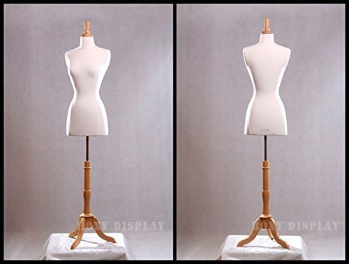 BS-01NX, White JF-FWPW-4+BS-01NX Roxy Display New White Female Dress Form Body Form with Base and Necktop Size 2-4 34 22 34