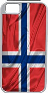 Rikki KnightTM Norway Flag Deisgn White Tough-It Case Cover for iPhone 5 & 5s(Double Layer case with Silicone Protection and Thick Front Bumper Protection)
