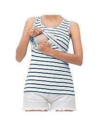 Women Sleeveless Nursing Tank Top Striped Postpartum Breastfeeding Shirt Maternity Vest Tops Blouse Clothes