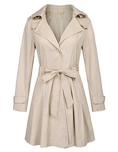 Kate Kasin Ladies Lightweight Designer Trench Coat With Detachable Hoodie (Hoodie Trench)