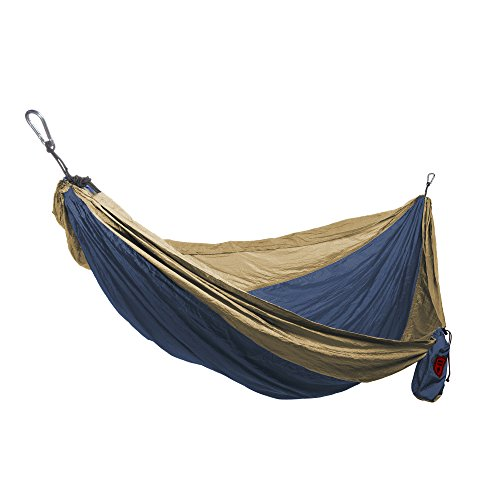 Grand Trunk Double Parachute Hammock | Compact Portable Nylon Two Toned Hammock with Carabiners and Hanging Kit - Royal Blue/Khaki by Grand Trunk