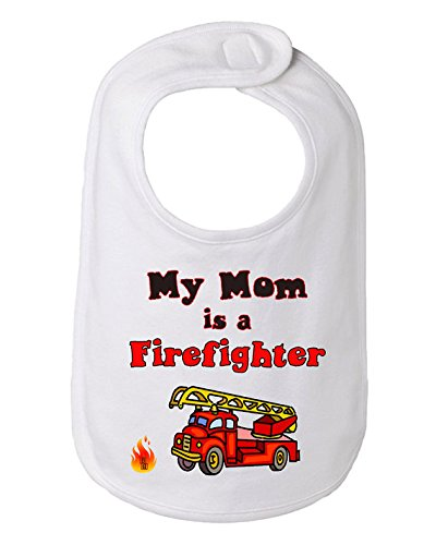 My Mom is a Firefighter Infant Baby Bib, 100% combed ringspun cotton 5.8 ounce (White) - Costume Definition Oxford