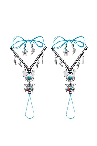 Barefoot Sandals Beach Wedding Shoes Toe Anklets With Dangle Charms Tie Closure (Turquoise, Silver)