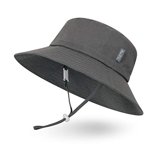 Ami&Li tots Adjustable Sunscreen Bucket Sun Protection Summer Hat for Baby Girl Boy Infant Kid Toddler Child UPF 50 Dark Gray]()
