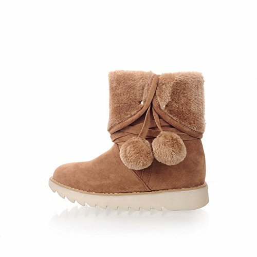 Platform Style Women's Shoes Carol Boots Snow Yellow poms Pom New Dark Short UHItZxZq